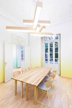 Lighting is divine, walls are so bright and cheery! Perfecting meeting/work room!
