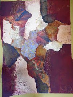 """Mixed Media Artists International: """"Red Rocks Canyon"""" Original Abstract, Mixed Media Painting by California Contemporary Mixed Media Artist Barbara Van Rooyan"""