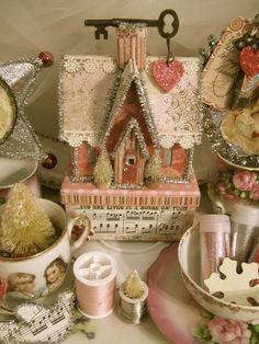 Starlite Studios: Sending Love Your Way Christmas Town, Christmas Villages, Christmas Crafts, Christmas Decorations, Vintage Valentines, Valentine Crafts, Holiday Crafts, Holiday Decor, Shabby Chic Christmas