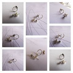 Mismatched Sterling Silver stud earrings. Handmade by EllenKirkAli