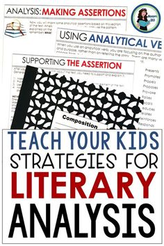 Teaching the Process for Literary Analysis: Activities & Strategies Middle and high school English teachers: help your students understand how Middle School Ela, Middle School English, Teaching Writing, Teaching Tips, Teaching Literature, Teaching Techniques, English Literature, English Classroom, English Teachers