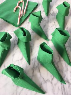 Elf viewing party: folded elf shoe napkin