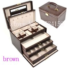 luxurious big 4 layers brown  leather jewelry box earrings jewelry display box  wedding gifts  gift box  (28. * 20 * 19.5 cm)