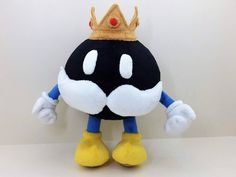 "a custom plush of King Bob-omb (from ""Super Mario by Etsy user ""CreativePlushToys"" Super Mario All Stars, Super Mario Party, Giant Plush, Nintendo, Pokemon Plush, Fisher Price Toys, Bunny Plush, Crochet Bunny, Plush Animals"