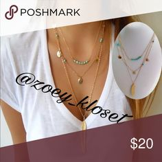 🆕Boho Gold 3 Layers Turquoise Beads Necklace Gold Plated Chain, Beads, Leaf, Very Cute. Jewelry Necklaces