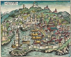 The city of Genoa in a woodcut from the Nuremberg Chronicle, the Lanterna can be seen in the left edge of the picture. Medieval World, Medieval Town, Medieval Art, Medieval Times, Vintage Maps, Antique Maps, Italy Map, Genoa Italy, Templer