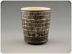 Black And White Etched Porcelain Yunomi Teacup.