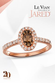 Diamonds so decadent. Celebrate Le Vian jeweler's 20thanniversary with a tasty treat–Chocolate Diamonds! Wedding Gowns, Wedding Rings, Le Vian, Fantasy Wedding, Promise Rings, Halo, Heart Ring, Strawberry, Diamonds