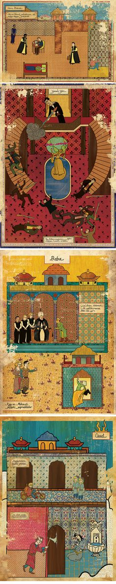 Turkish illustrator Murat Palta turns famous movies into Ottoman miniature paintings. (Pulp Fiction, Scarface, The Godfather and The Shining  )