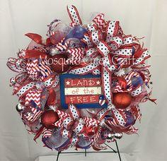 Summer Wreath front door, Patriotic Wreath for front door, Fourth of July Wreath, Memorial Day Wreath, Red White and Blue Wreath (scheduled via http://www.tailwindapp.com?utm_source=pinterest&utm_medium=twpin&utm_content=post187465553&utm_campaign=scheduler_attribution)