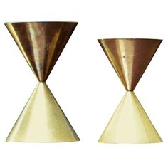 Pierre Forsell Two Brass Orchid Vases for Skultuna | From a unique collection of antique and modern vases at https://www.1stdibs.com/furniture/dining-entertaining/vases/