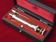 Antique Syringe Hypodermic Needle In Black Box Purple