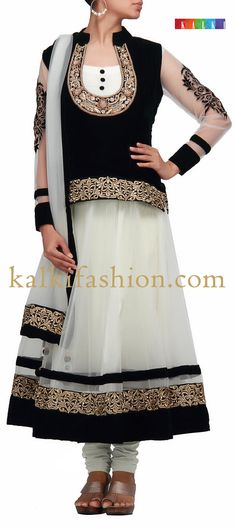 White anarkali dress with black velvet top in pita embroidery . Anarkali Frock, White Anarkali, Pakistani Dresses, Indian Dresses, Indian Outfits, Indian Attire, Indian Ethnic Wear, Party Wear Dresses, Wedding Party Dresses