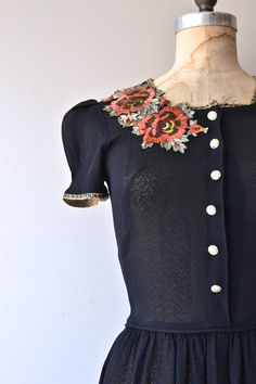 Blackadder dress vintage 1930s dress black floral by DearGolden
