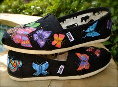 Hand Painted Butterfly TOMS by Artistic Soles on Etsy