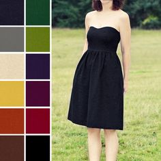 CUSTOM Linen blend Strapless Dress with Pockets  - COLOR OPTIONS. $98.00, via Etsy.