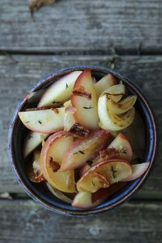 """These crisp tender Bacon Fried Apples and Onions are a classic dish from Laura Ingalls Wilder's """"Farmer Boy"""" and they are as delicious as you'd imagine! Fried Apples, Cooked Apples, Depression Era Recipes, Cooking Onions, Bacon Fries, Apple Recipes, Tea Recipes, Pork Recipes, Fall Recipes"""
