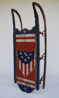 Patriotic Americana Centennial Sled Original Red White and Blue Painted Original Surface...love...