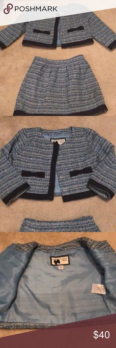 Janie and jack suit jacket and skiet Adorable blue baby girl suit with jacket and skirt. Worn one time! Janie and Jack Matching Sets