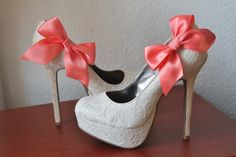 Coral Ribbon Bow Shoe Clips  1 Pair by JewelrybyAshNicole on Etsy