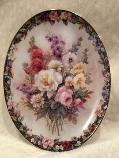 "#Bradford Exchange / Lena #Lui Floral Cameos Plate 1 ""Remembrance"" #lenaliu"