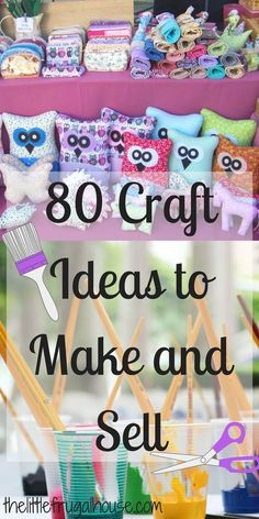 Ever wonder if you could make any money selling crafts? Check out these 80 crafts to make and sell, and you just might find the perfect crafty side job! Crafts to sell 80 Crafts to Make and Sell - The Little Frugal House Money Making Crafts, Crafts For Teens To Make, Sewing Projects For Kids, Diy Craft Projects, Craft Ideas, Teen Projects, Wooden Projects, 31 Ideas, Sell Diy