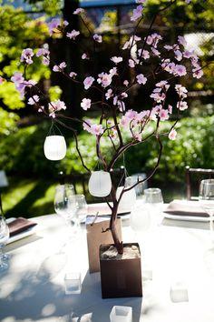 Cherry Blossom Centerpiece with Hanging Lanterns. $150.00, via Etsy.