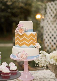Yellow Chevron and Blue Ribbon Cake