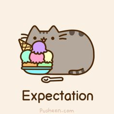 Pusheen the Cat Eating Ice Cream