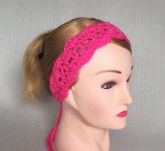 Hot pink crochet headband for Women Tie headband Crochet Hippie headband  Womens head band Lace crochet 9134b089c0e