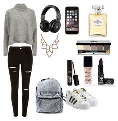 """School day"" by manonrqt-1 ❤ liked on Polyvore featuring Designers Remix, River Island, adidas Originals, Chicnova Fashion, Bobbi Brown Cosmetics, Manic Panic, Chanel and NARS Cosmetics"