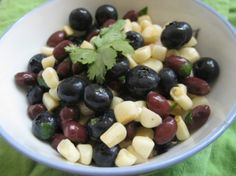 Summer salad recipe with blueberries and black beans... yum!