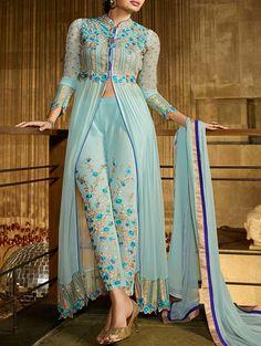 Buy Admirable Aqua Blue Party Wear Salwar Kameez,Salwar Kameez is Designed With Zari embroidery Work,Top Fabric: Royal georgette,Bottom Fabric: - 85142 Designer Salwar Kameez, Indian Dresses, Indian Outfits, Satin Duchesse, Indian Party Wear, Desi Clothes, Indian Clothes, Anarkali Suits, Punjabi Suits