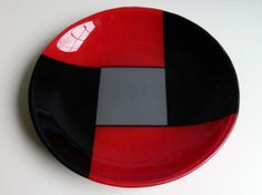 "BOWL - Fused Glass Bowl - 12"" Diameter - Black, Red and Grey - OSU inspired"
