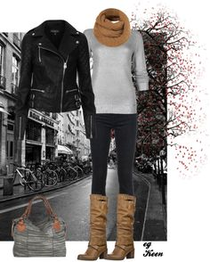 """""""Biker's Jacket Casual outfit"""" by eg-keen on Polyvore..different handbag though."""