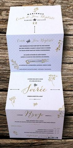 Faire-part de mariage Origami,carton simple imprimé recto plié en 4 en accordéon ce qui permet d'avoir l invitation ou autres informations directement sur le faire-part sans avoir à commande…