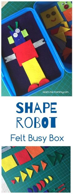 Shape Robot Felt Busy Box Make a fun shape robot busy box from felt and a lunch box to play on the g Toddler Fun, Toddler Preschool, Toddler Crafts, Toddler Activities, Toddler Games, Quiet Time Activities, Preschool Activities, Preschool Centers, Indoor Activities