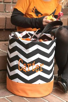 Personalized Halloween trick or treat bag chevron black and orange