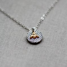 Brass & Silver Honeycomb Necklace with a Tiny Gold Bee Charm, Honeycomb Pendant, Whimsical Nature Jewelry