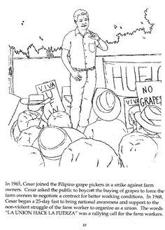 Printable celebrating cesar chavez cesar chavez free for Cesar chavez coloring page