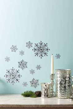 Make your season sparkle brighter with these snowflake mirror clings from Martha Stewart Crafts #marthastewartcrafts