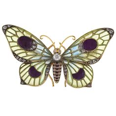 Austro Hungarian Art Nouveau Enamel Diamond Gold Butterfly Brooch | From a unique collection of vintage brooches at https://www.1stdibs.com/jewelry/brooches/brooches/