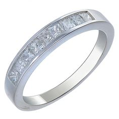 CT Princess Diamond Wedding Band in White Gold Size 6 Gold Diamond Wedding Band, White Gold Wedding Rings, Wedding Rings For Women, Wedding Bands, Rings For Men, Engagement Jewelry, Wedding Jewelry, Wedding Ring Pictures, Emerald Pendant