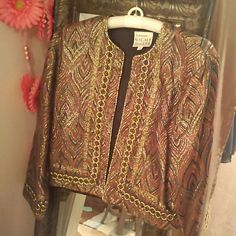Reduced**Vintage Rothschild sparkly jacket Gorgeous vintage metallic jacket; multi colors of muted pink, greens, golds, black with gold metallic thread all over; gold cord design around edges and cuffs; Rothschild Night Life for Lilli Ann - look it up on Ebay;  size says P - may mean petite but would fit a 6-8 Jackets & Coats