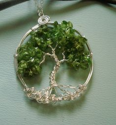 Wire Wrapped Tree of life Necklace Peridot Tree of by SunVDesigns