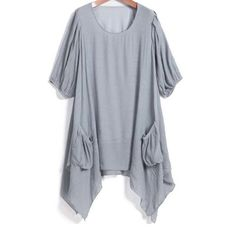 29,90EUR Top grau asymmetrisch mit aufgesetzten Taschen