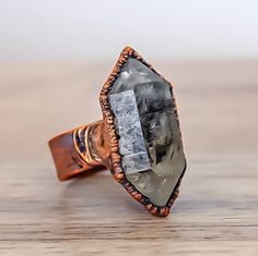 Wanna make a statement??? Copper and Large Raw Herkimer Diamond Ring had you covered ♥️ www.indieandharper.com