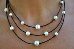 pearl leather jewelry | Leather and Pearl Necklace Brown & White by ChristineChandler
