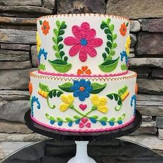 Intricately piped Mexican embroidery in a spring palette Mexican Birthday Parties, Mexican Fiesta Party, Fiesta Theme Party, Mexico Party Theme, Theme Parties, Pyjamas Party, Mexican Babies, Mexican Embroidery, Embroidery Ideas
