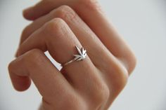 Sweet Leaf Ring Silver Sweet Leaf Band Thin Sterling by MinimalVS, $78.00